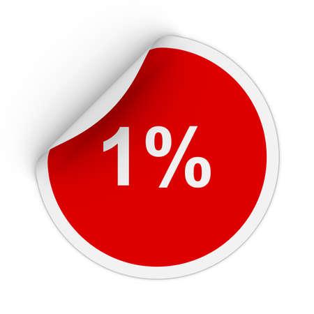 peeling corner: 1% - One Percent Red Circle Sticker with Peeling Corner 3D Illustration Stock Photo