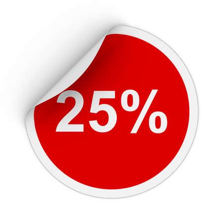 peeling corner: 25% - Twenty Five Percent Red Circle Sticker with Peeling Corner 3D Illustration
