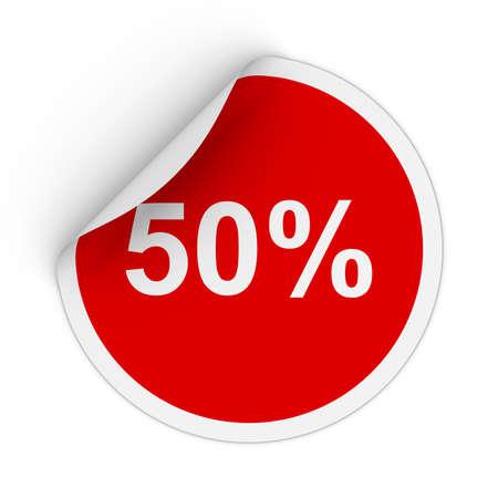 peeling corner: 50% - Fifty Percent Red Circle Sticker with Peeling Corner 3D Illustration Stock Photo