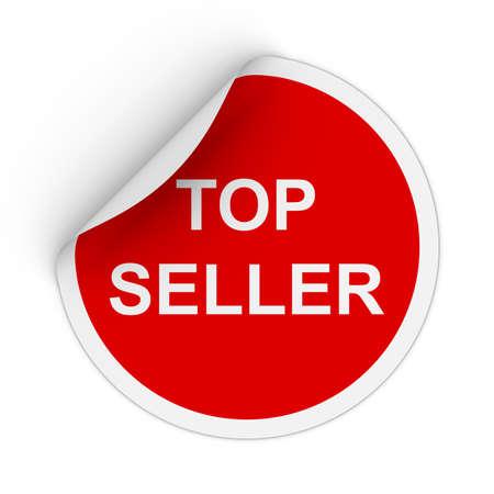 peeling corner: Top Seller Text Red Circle Sticker with Peeling Corner 3D Illustration Stock Photo