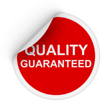 peeling corner: Quality Guaranteed Text Red Circle Sticker with Peeling Corner 3D Illustration