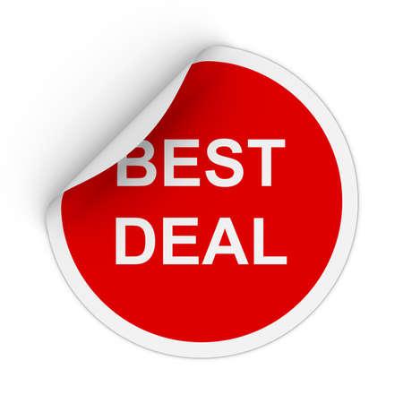peeling corner: Best Deal Text Red Circle Sticker with Peeling Corner 3D Illustration Stock Photo