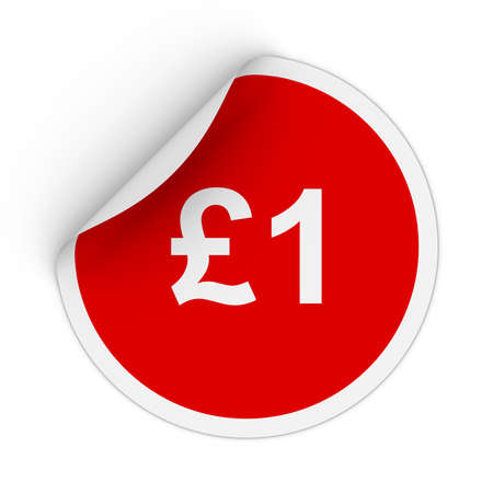 pence: $1 - One Pound Red Circle Sticker with Peeling Corner 3D Illustration