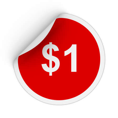 peeling corner: $1 - One Dollar Red Circle Sticker with Peeling Corner 3D Illustration Stock Photo
