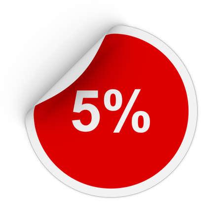 peeling corner: 5% - Five Percent Red Circle Sticker with Peeling Corner 3D Illustration