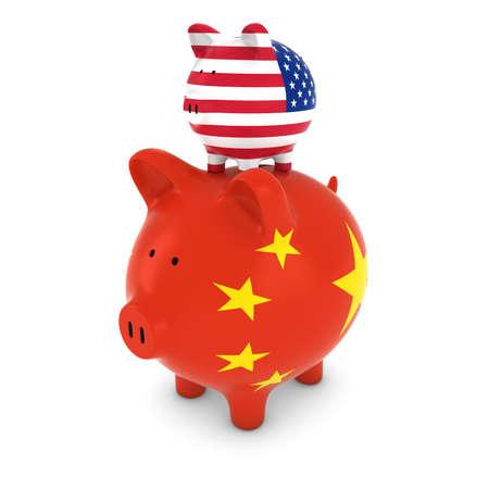 piggyback: US Flag Piggy Bank Piggybacking on Chinese Piggy Bank Economic Concept 3D Illustration