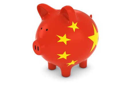 chinese flag: Chinese Currency Concept - Chinese Flag Piggy Bank 3D Illustration Stock Photo