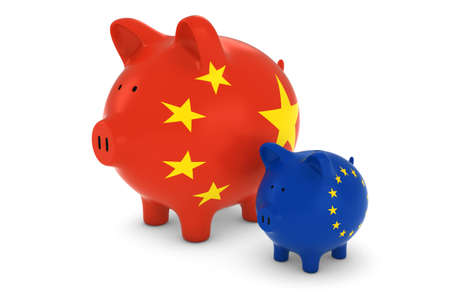 exchange rate: Chinese Flag and EU Flag Piggybanks Exchange Rate Concept 3D Illustration