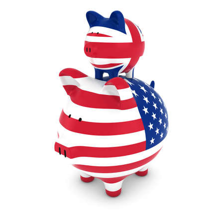 uk flag: UK Flag Piggy Bank Piggybacking on US Piggy Bank Economic Concept 3D Illustration