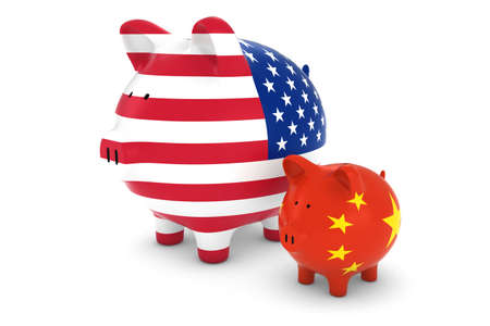 exchange rate: American Flag and Chinese Flag Piggybanks Exchange Rate Concept 3D Illustration