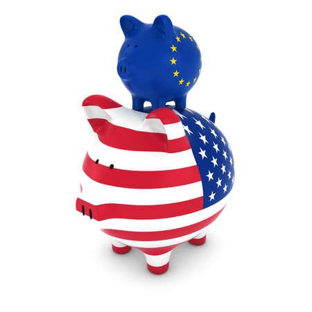 piggyback: European Flag Piggy Bank Piggybacking on US Piggy Bank Economic Concept 3D Illustration