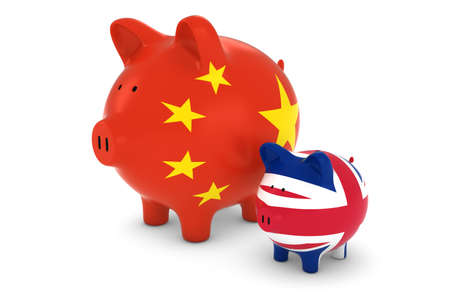 exchange rate: Chinese Flag and UK Flag Piggybanks Exchange Rate Concept 3D Illustration