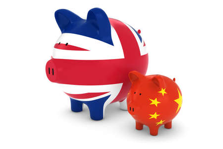 exchange rate: British Flag and Chinese Flag Piggybanks Exchange Rate Concept 3D Illustration