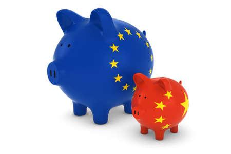 european exchange: European Flag and Chinese Flag Piggybanks Exchange Rate Concept 3D Illustration