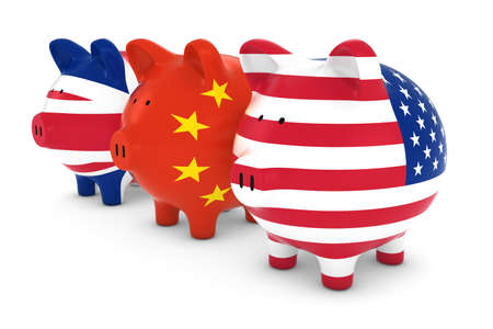us currency: British Chinese and American Flag Piggy Banks 3D Illustration Stock Photo