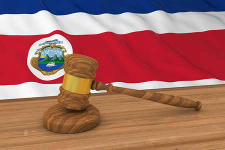 costa rican flag: Costa Rican Law Concept - Flag of Costa Rica Behind Judges Gavel 3D Illustration Stock Photo