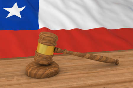 chilean flag: Chilean Law Concept - Flag of Chile Behind Judges Gavel 3D Illustration