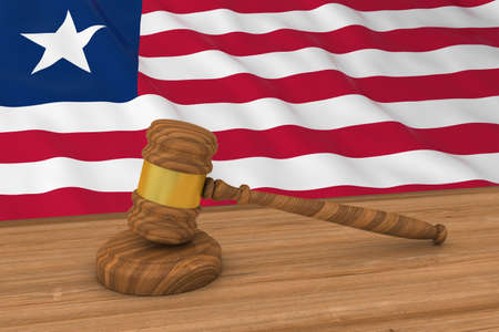 Liberian Law Concept - Flag of Liberia Behind Judges Gavel 3D Illustration