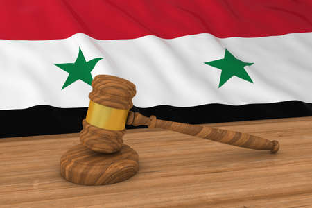 syrian: Syrian Law Concept - Flag of Syria Behind Judges Gavel 3D Illustration Stock Photo