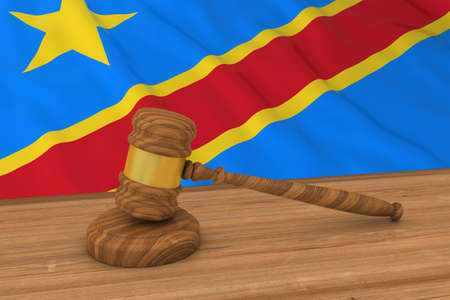 dr: Congolese Law Concept - Flag of DR Congo Behind Judges Gavel 3D Illustration