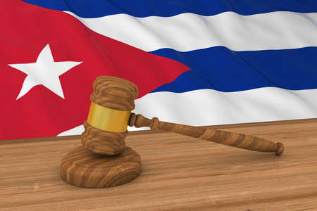 cuban flag: Cuban Law Concept - Flag of Cuba Behind Judges Gavel 3D Illustration Stock Photo