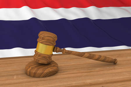 judgments: Thai Law Concept - Flag of Thailand Behind Judges Gavel 3D Illustration