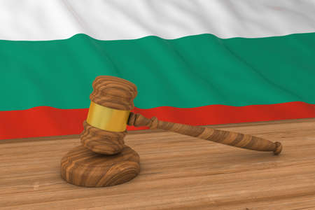 bulgarian: Bulgarian Law Concept - Flag of Bulgaria Behind Judges Gavel 3D Illustration