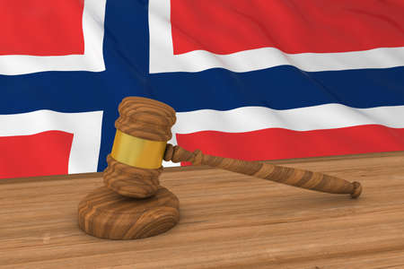 judgments: Norwegian Law Concept - Flag of Norway Behind Judges Gavel 3D Illustration