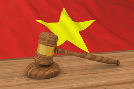 Vietnamese Law Concept - Flag of Vietnam Behind Judges Gavel 3D Illustration