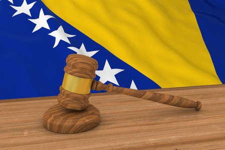 Flag of Bosnia and Herzegovina Behind Judges Gavel 3D Illustration