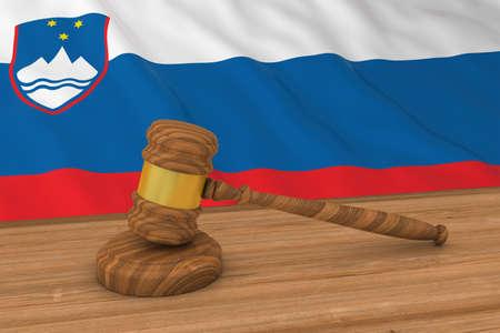 Slovenian Law Concept - Flag of Slovenia Behind Judge's Gavel 3D Illustration Imagens - 60585253