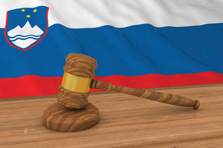 Slovenian Law Concept - Flag of Slovenia Behind Judges Gavel 3D Illustration