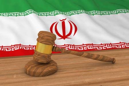 iranian: Iranian Law Concept - Flag of Iran Behind Judges Gavel 3D Illustration