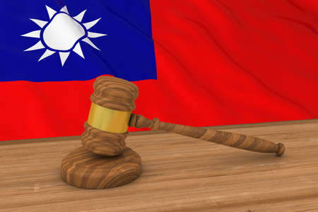 taiwanese: Taiwanese Law Concept - Flag of Taiwan Behind Judges Gavel 3D Illustration