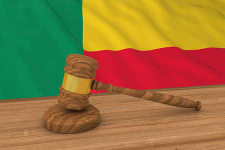 judgments: Beninese Law Concept - Flag of Benin Behind Judges Gavel 3D Illustration Stock Photo
