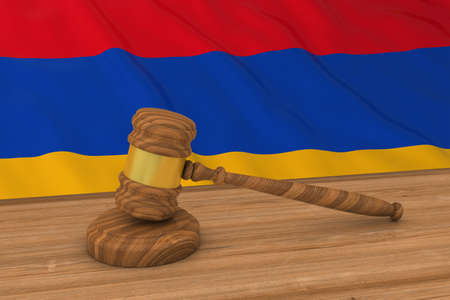 Armenian Law Concept - Flag of Armenia Behind Judges Gavel 3D Illustration Stock Photo