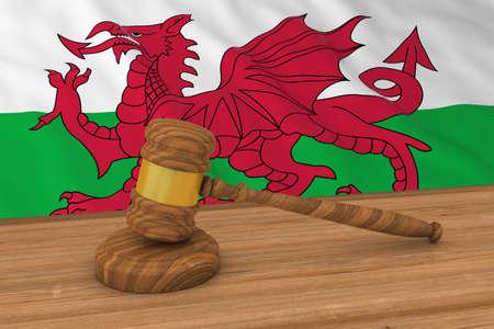 welsh flag: Welsh Law Concept - Flag of Wales Behind Judges Gavel 3D Illustration