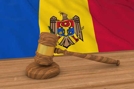 moldovan: Moldovan Law Concept - Flag of Moldova Behind Judges Gavel 3D Illustration