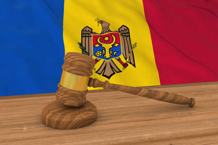 Moldovan Law Concept - Flag of Moldova Behind Judges Gavel 3D Illustration