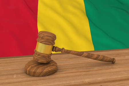 judgments: Guinean Law Concept - Flag of Guinea Behind Judges Gavel 3D Illustration Stock Photo