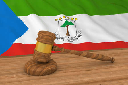 equatorial guinea: Equatorial Guinean Law Concept - Flag of Equatorial Guinea Behind Judges Gavel 3D Illustration Stock Photo