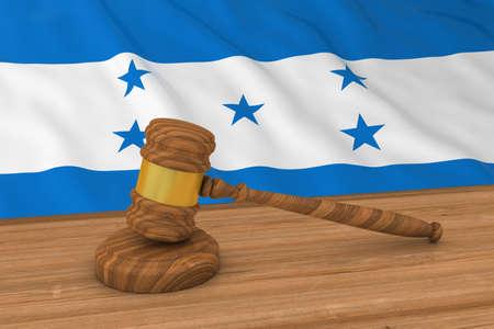ホンジュラスの法律概念 - 裁判官の小槌 3 D 図の背後にあるホンジュラスの旗