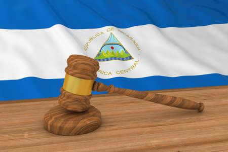 nicaraguan: Nicaraguan Law Concept - Flag of Nicaragua Behind Judges Gavel 3D Illustration Stock Photo