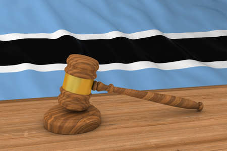 botswanan: Botswanan Law Concept - Flag of Botswana Behind Judges Gavel 3D Illustration