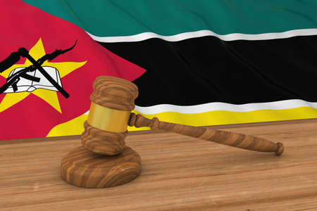 Mozambican Law Concept - Flag of Mozambique Behind Judges Gavel 3D Illustration Stock Photo