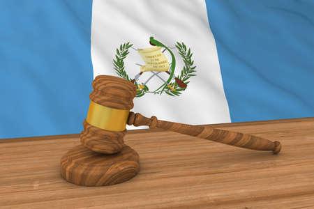 グアテマラ法律概念 - 裁判官の小槌 3 D 図の背後にあるグアテマラの国旗 写真素材