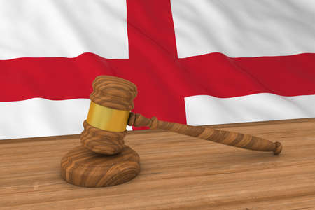 judgments: English Law Concept - Flag of England Behind Judges Gavel 3D Illustration