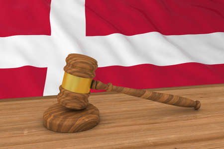 danish flag: Danish Law Concept - Flag of Denmark Behind Judges Gavel 3D Illustration Stock Photo