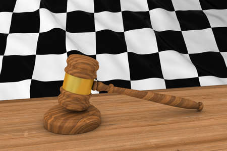 judgments: Motor Sport Racing Law Concept - Checkered Flag Behind Judges Gavel 3D Illustration