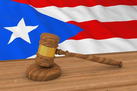bandera de puerto rico: Rica Ley Concepto Puerto - Bandera de Puerto Rico Detrás Ilustración 3d martillo del juez Foto de archivo